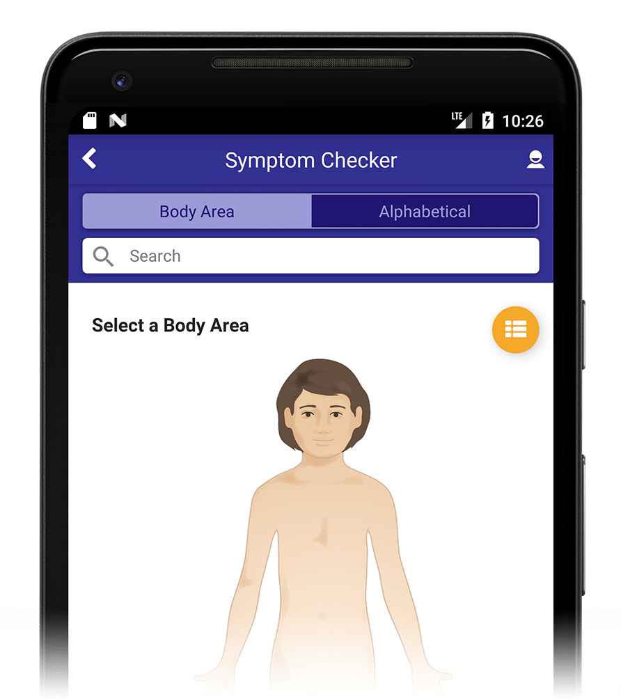 Half screen capture of AppCatalyst's Symptom Checker app for self-care and self triage
