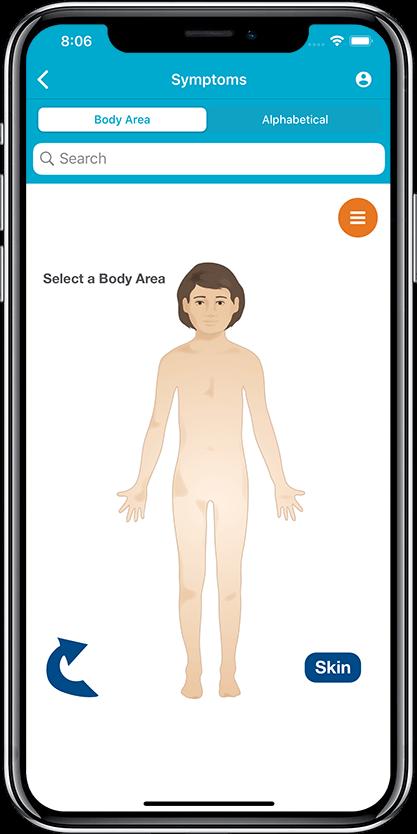 Cox Health Services Symptom Checker Select Body Area Screen