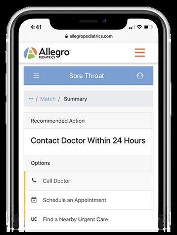Allegro Pediatrics branded symptom checker triage app
